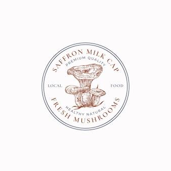 Pilze abstraktes rahmenzeichensymbol oder logoschablone handgezeichnete safranmilchkappengruppe mit typogra...
