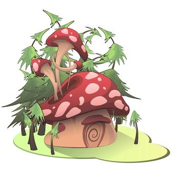 Pilzhaus auf weißem hintergrund
