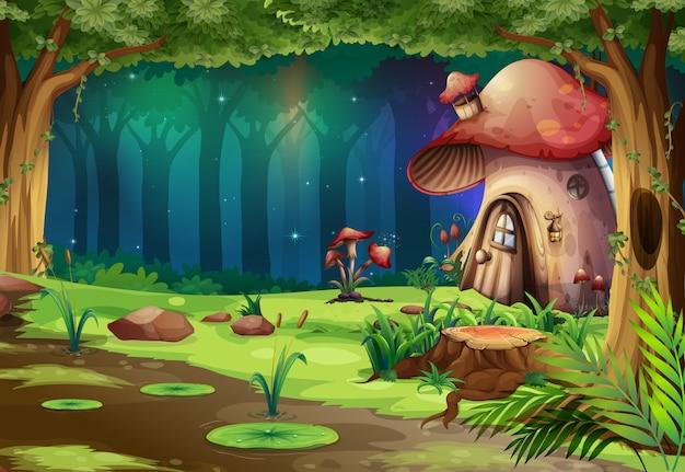 Pilzhaus im dunklen wald