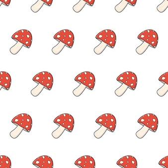 Pilznahtloses muster auf einem weißen hintergrund. amanita-pilz-thema-vektor-illustration