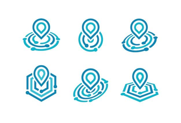 Pin auf karte abstrakte geometrische linie icon-set