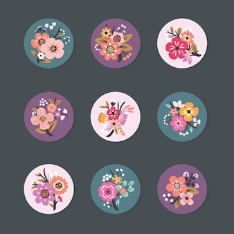 Pin-designsammlung mit schönem blumen
