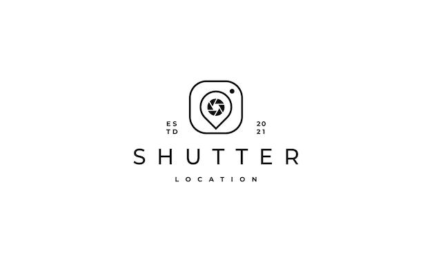 Pin foto kamera logo design vector illustration