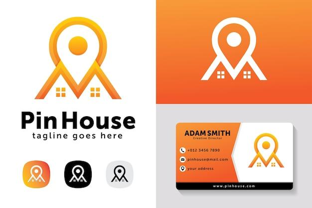 Pin haus logo design-vorlage