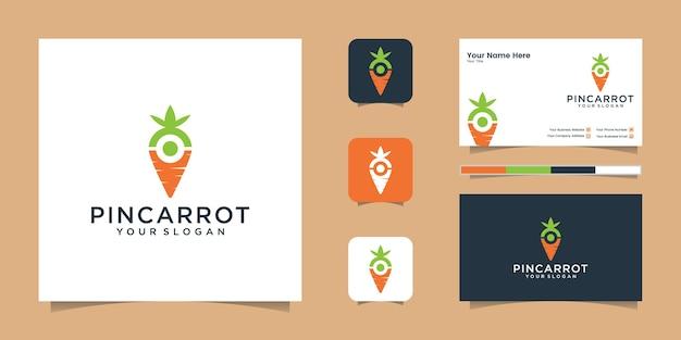 Pin karotten logo und visitenkarte