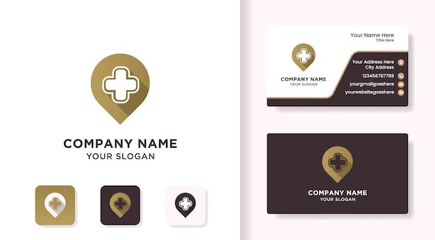 Pin-kreuz-logo mit schatten und visitenkarte