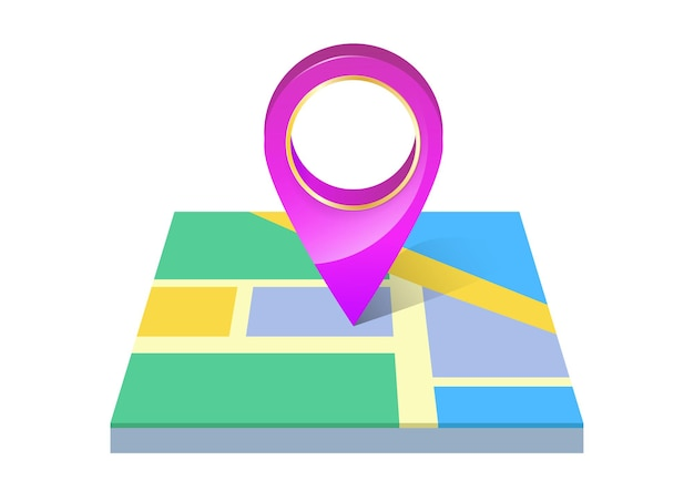 Pin markierungsort symbol auf karte isoliert.