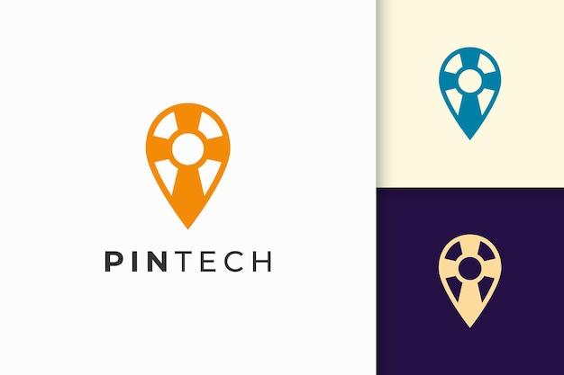 Pin- oder point-logo in einfacher linie und moderner form für technologieunternehmen