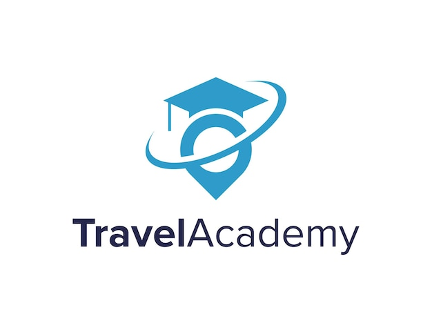 Pin reise- und abschlusshut einfaches schlankes kreatives geometrisches modernes logo-design