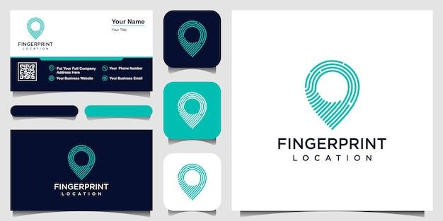 Pin-symbol mit fingerabdruckmuster. visitenkarten-design