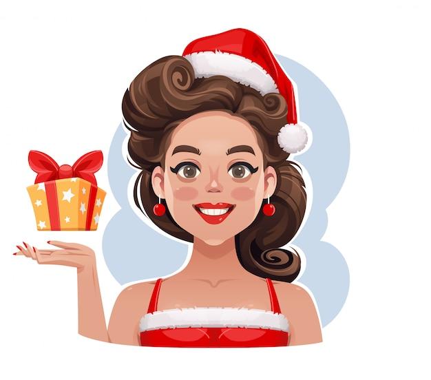 Pin-up-girl mit weihnachtsgeschenkillustration