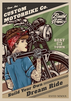 Pin up mädchen auf klassischem custom motorrad retro poster style