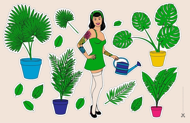 Pin up schöne junge frau, die zimmerpflanzen wässert. hobby. illustrationsset.