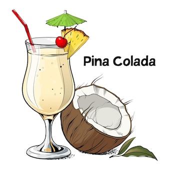 Pina colada cocktail handgezeichnetes alkoholgetränk mit kokosnuss-ananasscheibe und kirsche