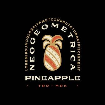 Pine apple geometrisches t-shirt abzeichen vintage emblem tee merch logo vektor icon illustration