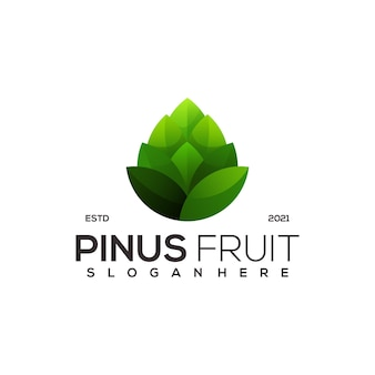 Pine fruit natur retro-logo-vorlage