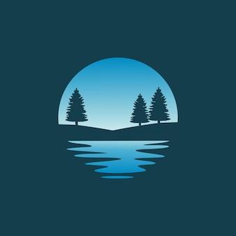 Pine tree silhouette logo design vector illustration