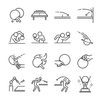 Ping pong linie icon-set.