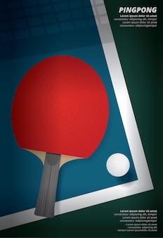 Pingpong-plakat-schablonen-vektor-illustration