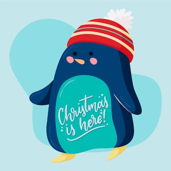 Pinguin-charakter mit schriftzug