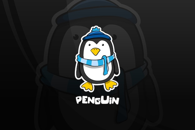 Pinguin esport maskottchen design. winter