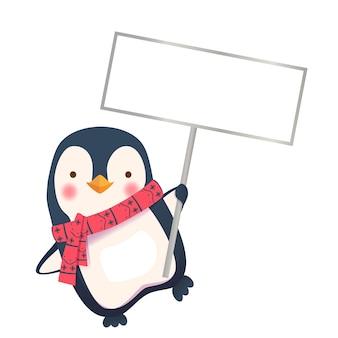Pinguin hält zeichen. pinguin-karikatur-vektorillustration.