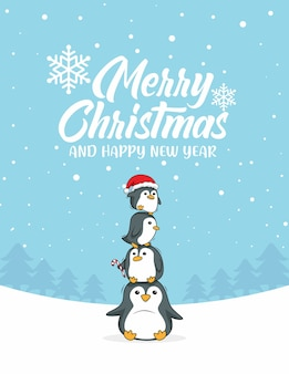 Pinguin-karikatur frohe weihnachten