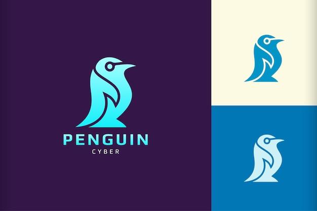 Pinguin-logo mit abstrakter und einfacher form für technologiemarke