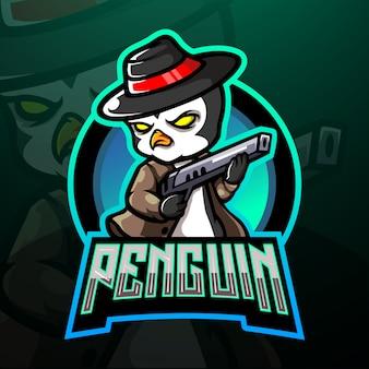 Pinguin mafia esport logo maskottchen design