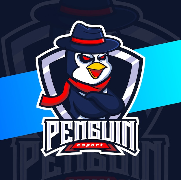 Pinguin maskottchen esport logo design