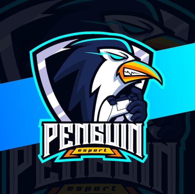 Pinguin maskottchen esport logo design
