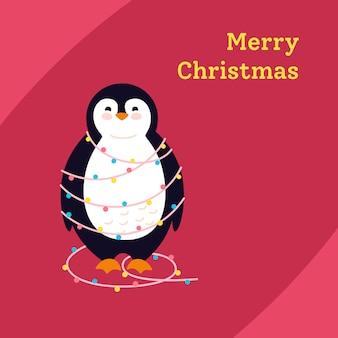 Pinguin mit girlandenkarikaturgruß frohe weihnachten, winterferienpostkarte. lustiger glücklicher neujahrstierwintercharakter.