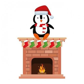 Pinguin mit weihnachtsmann-hut im kamin