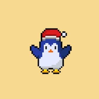 Pinguin mit weihnachtsmütze im pixel-art-stil