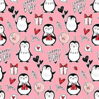 Pinguin nahtloses muster. lustiger tierhintergrund. karikatur hand gezeichnete textur mit niedlichen zeichen. doodle-stil.