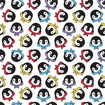 Pinguin nahtloses muster vogel fliege charakter cartoon illustration
