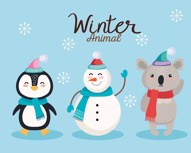 Pinguin-schneemann- und koala-karikaturen im design der frohen weihnachtszeit, winter- und dekorationsthema