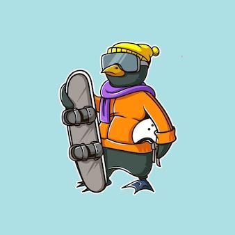 Pinguin schneeskifahren