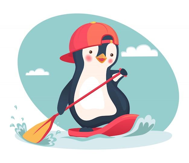 Pinguin schwimmt auf einem sup-board