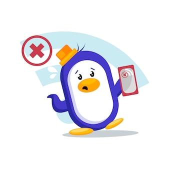 Pinguin sucht nach wi-fi-signal