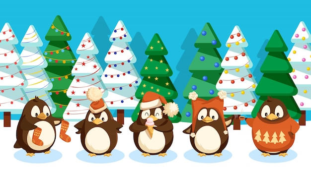Pinguine in forest pine trees, winterlandschaft
