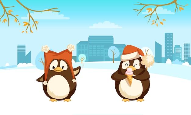 Pinguine mit lustiger weihnachtsmannmütze und eiscreme