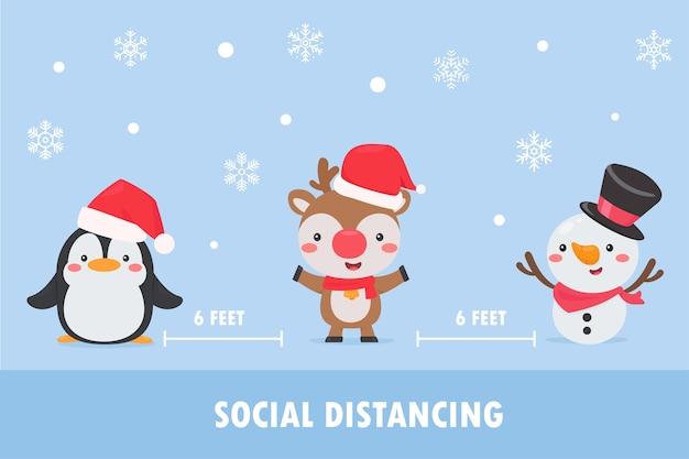 Pinguine, rentiere und schneemänner tragen masken und verlassen den sozialen raum, um die korona zu weihnachten zu verhindern.