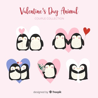 Pinguinpaarsammlung des valentinstags