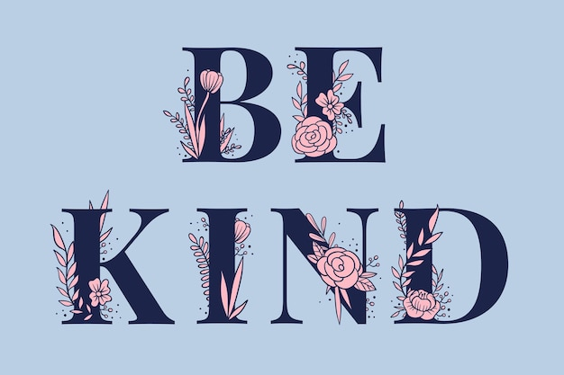 Pink be kind wort weibliche vektorbeschriftung und typografie