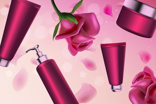 Pink rose kosmetik serie körper feuchtigkeitscreme spender tube verpackung gesichtspflege flüssige creme
