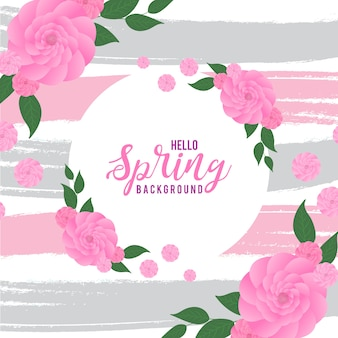 Pink rose mit grey & peach water color brush streicht hintergrund Premium Vektoren