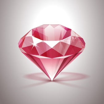 Pink shiny clear diamond nahaufnahme isoliert