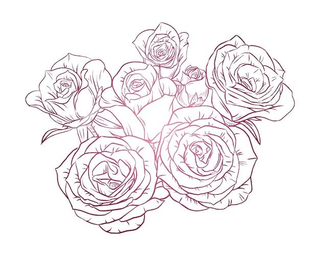 Pinke rose. line-art-poster für design und druck