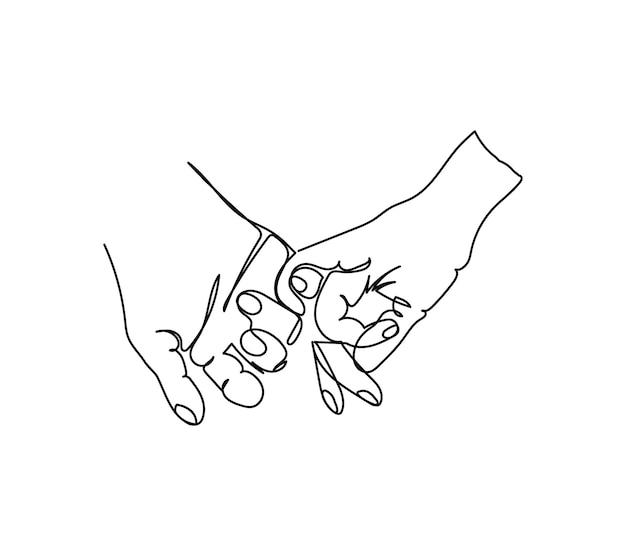 Pinky, der eine strichzeichnung hält. kontinuierliche strichzeichnung von geste, hand, halten sie sich an den kleinen fingern fest.